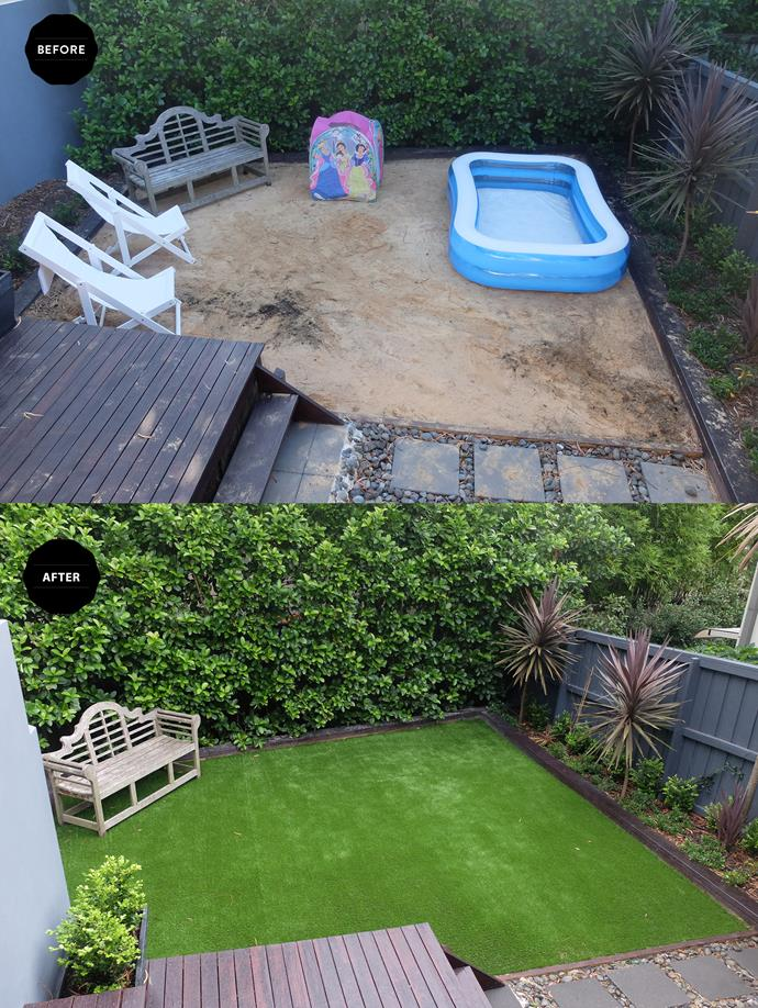 "More private beach than garden, the sand had to go and the new Tuff Turf from [Bunnings](https://www.bunnings.com.au|target=""_blank"") has made the garden complete."
