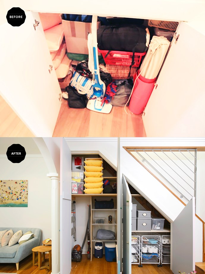 The cupboards had become a dumping ground but with some smart storage ideas, frequently used items are now within reach; everything else is up high.