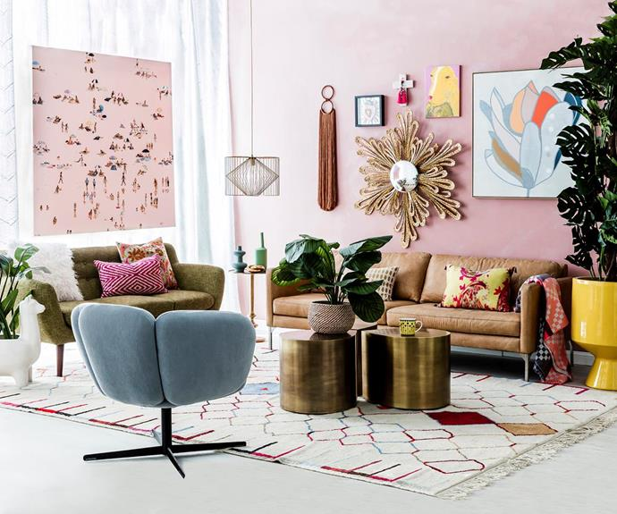"""First up are the colours of spring, and according to our interiors expert Kate Nixon, there are six of them to seek out: ocra, orange, brown, taupe, soft pink and mint green. The 'spice market' colour palette is full of subtle shades, as you can see in this [South American-inspired living room](http://www.homestolove.com.au/south-american-decorating-ideas-3923 target=""""_blank""""). *Photo: Maree Homer*"""