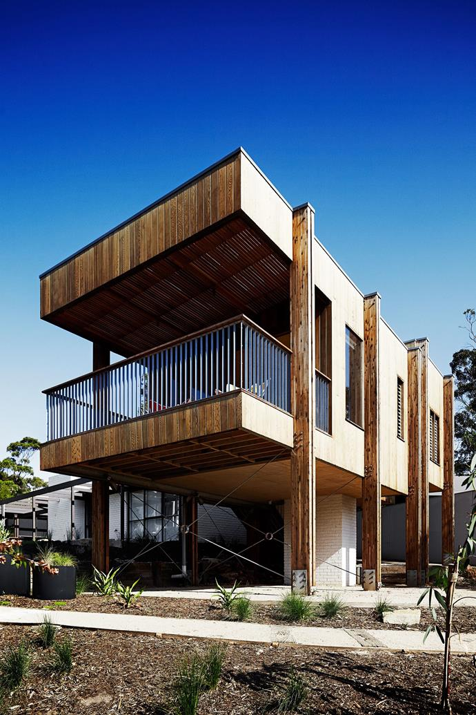 "In [Jude and Tony's pavilion-style timber extension](http://www.homestolove.com.au/jude-and-tonys-pavilion-style-timber-extension-1561|target=""_blank""), a pavilion is added onto the preexisting brick house. The exterior is made from red cedar timber, giving the home a contemporary yet rustic facade. *Photo: Sharyn Cairns*"