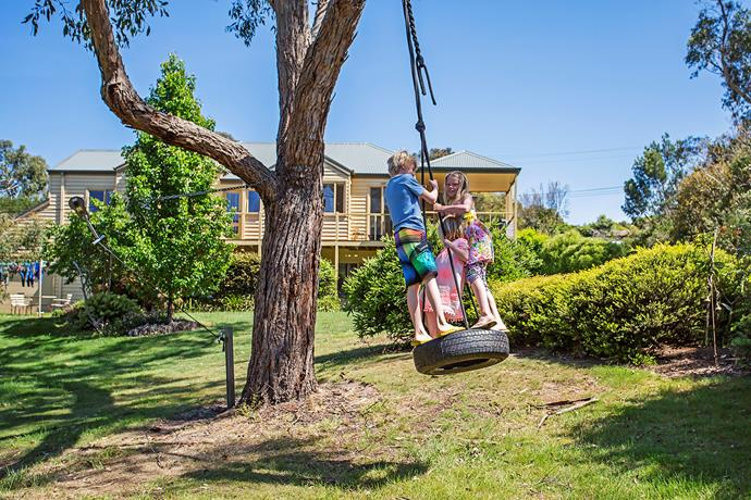Installed by Damon, the tyre swing rarely goes a day without use!