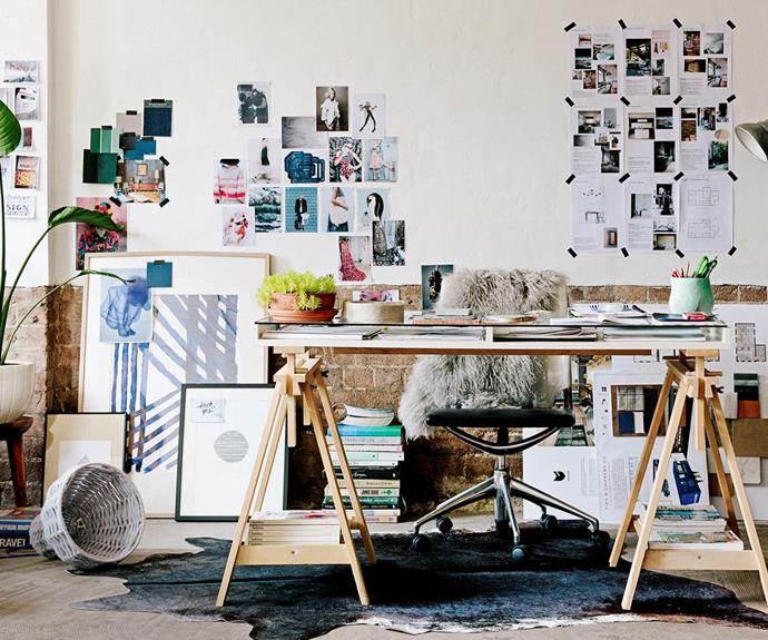 """This [designer's workspace](http://www.homestolove.com.au/how-to-be-a-designer-2505