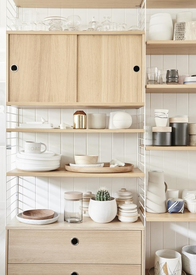 "For a more modern, Scandinavian feel, try using blond timber! This kitchen shelving, styled in neutral tones by [Melbourne stylist Simone Haag](https://www.homestolove.com.au/stylist-simone-haags-seamless-scandi-style-home-4012|target=""_blank"") is both functional and elegant."