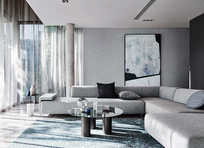 Lounge Room features Dulux Concrete Effect Pale Elements, Side Wall in Grey Master, Ceiling in Winter Terrace And Object Painted in Hauraki Gulf. *Bree Leech & Heather Nette King for Dulux Colour Trends 2017 - Construct Palette. Photographer: Lisa Cohen*