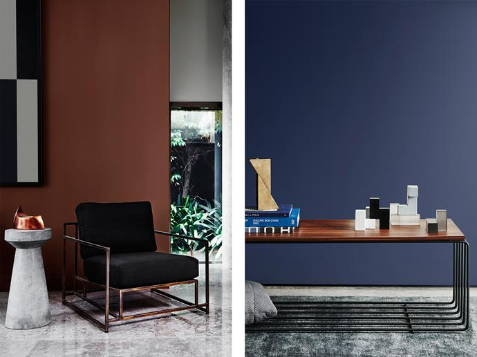 LEFT: Living Room features Dulux Metal Shimmer Infinite Dusk and Wall to Right in Reckless Grey. RIGHT: Living Room features Dulux Ahoy. *Bree Leech & Heather Nette King For Dulux Colour Trends 2017 - Construct Palette. Photographer: Lisa Cohen*