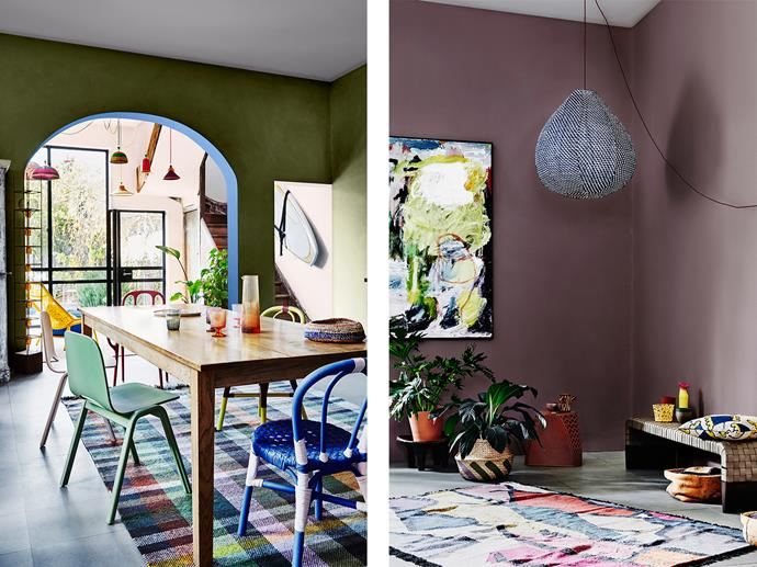 LEFT: Kitchen features Dulux Army Fatigues, Archway Inner in Complex Blue, Stairwell Area in Angel's Face Half, Yellow Chair Painted in Dulux Banana Rama and Carmen Miranda and Blue Chair Painted in Complex Blue and Angel's Face Half. RIGHT: Lounge Room features Dulux Punctuate, Basket Painted in Punctuate and Army Fatigues. *Bree Leech & Heather Nette King for Dulux Colour Trends 2017 - Entwine Palette. Photographer: Lisa Cohen*