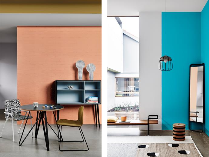 LEFT: Dining Room features Dulux Baby Melon, Ceiling in Lexicon Quarter, Bulkhead in Hay Wain and Door in Eskimo White. RIGHT: Living Room Features Dulux Summer Air & Lexicon Quarter, Vessel Painted in Baby Melon. *Bree Leech & Heather Nette King for Dulux Colour Trends 2017 - Chroma Palette. Photographer: Lisa Cohen*