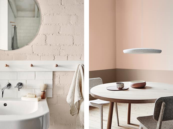 LEFT: Bathroom features Dulux Parchment Paper. RIGHT: Dining Room features Dulux Pinkham (Top) & Tavern (Bottom). *Bree Leech & Heather Nette King for Dulux Colour Trends 2017 – Sentience Palette. Photographer: Lisa Cohen*