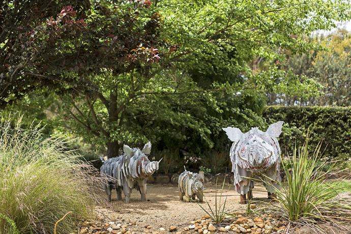 Robin has added touches of whimsy and humour to bring the garden to life for young visitors. A porcine family, fashioned from tin, regards visitors quietly from the corner.