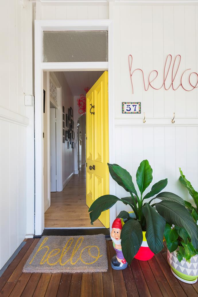 "Stephanie chose a sunny, happy yellow for the front door to create a [warm welcome](http://www.homestolove.com.au/first-impressions-james-trebles-tips-on-styling-the-entrance-to-your-home-3265|target=""_blank"")."