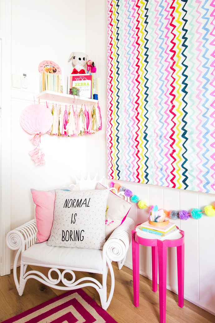 """The colourful blinds in Birdie's room were made to order through [Happiness Place](http://happinessplace.com.au/