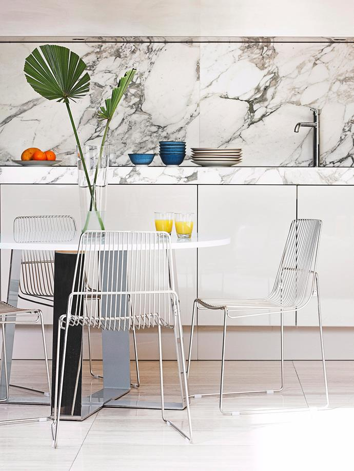 A marble splashback, real or faux, will add instant style to your kitchen. Photo: bauersyndication.com.au