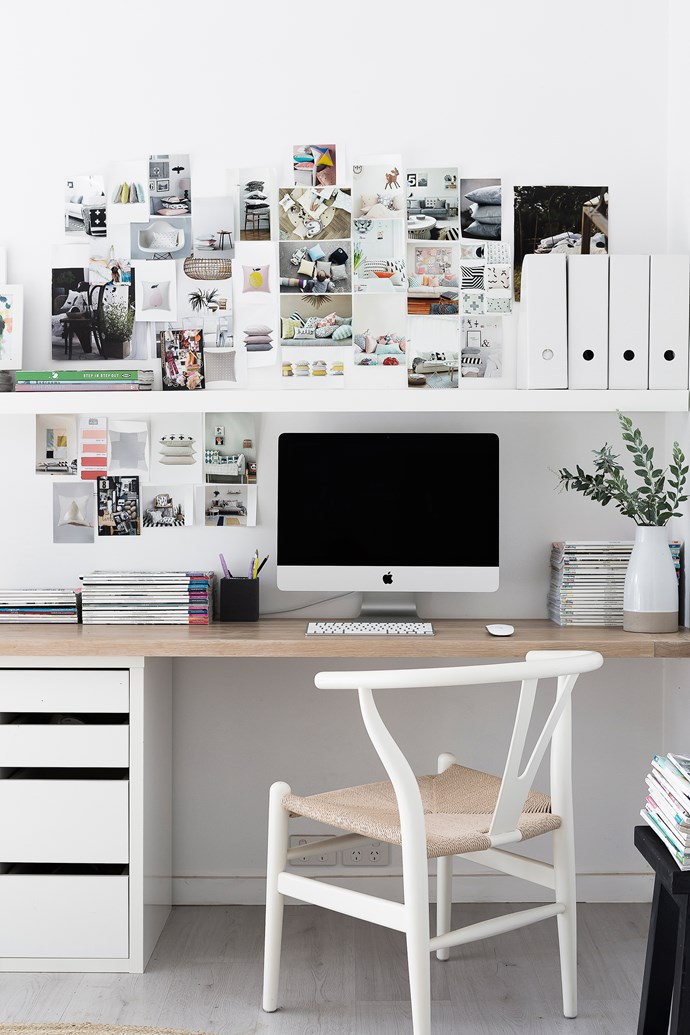 Get organised and save desk space by simply installing a hanging shelf. Photo: Maree Homer / bauersyndication.com.au