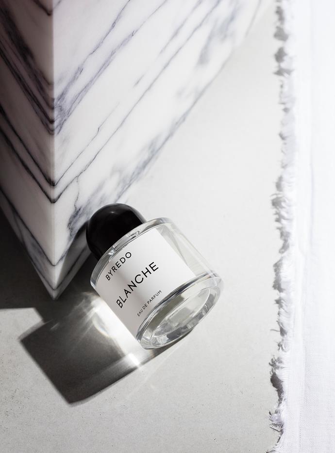 "Byredo ""Blanche"" Eau de Parfum, $167 for 50ml, [Mecca Cosmetica](http://mecca.com.au/ target=""_blank"")."