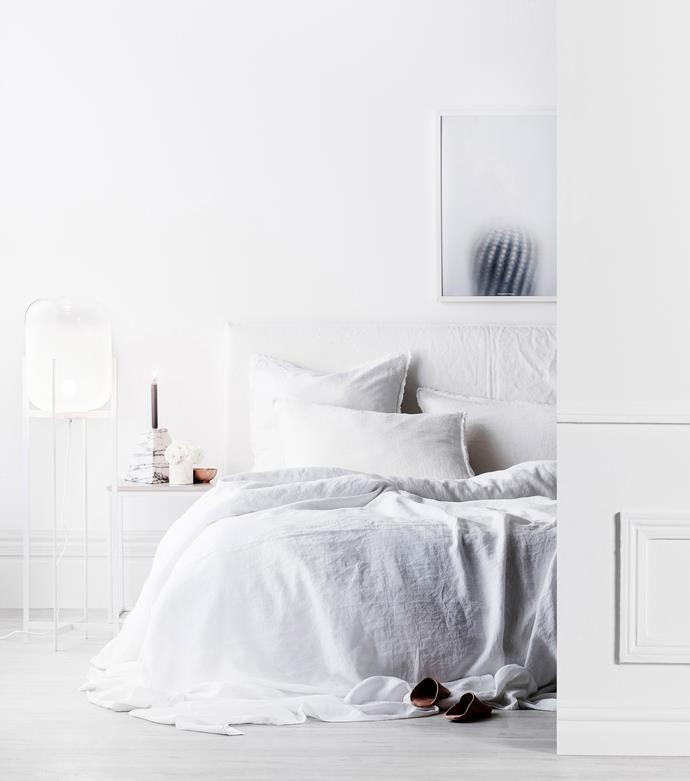 """'Lunden' **floor lamp** in White/Frost, $399, [Beacon Lighting](http://www.beaconlighting.com.au/ target=""""_blank"""" rel=""""nofollow""""). 'Lights Out' marble **candleholder**, $803, [Fred International](http://fredinternational.com.au/ target=""""_blank"""" rel=""""nofollow""""). Linen **duvet cover**, $158.15 for queen, [Rectangl](https://rectangl.co/ target=""""_blank"""" rel=""""nofollow""""). Flocca **pillowcases**, $69 each, [The Design Hunter](http://www.thedesignhunter.com.au/ target=""""_blank"""" rel=""""nofollow""""). Lights Out marble **candleholder**, $803, [Fred International](http://fredinternational.com.au/ target=""""_blank"""" rel=""""nofollow""""). Cactus **print** (70cm x 50cm), $90 (unframed), [The Minimalist](https://www.theminimalist.com.au/ target=""""_blank"""" rel=""""nofollow"""")."""