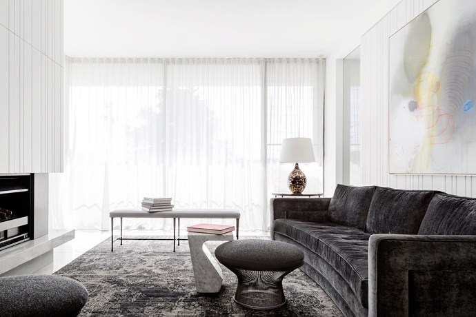Rich Pickings by Tania Handelsmann Interiors.  For a balance of privacy and light, opt for sheer curtains that drop from a recessed track to allow the silhouettes of the exterior to become part of the interior pattern play. *Photography: Justin Alexander*