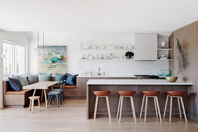 """Plan ahead and think about how you use your kitchen when deciding on the [layout](http://www.homestolove.com.au/choosing-a-kitchen-layout-2470 target=""""_blank""""), to create a streamlined space for work and play. A dining area that flows smoothly off the kitchen is a great way to extend the entertaining zone and ensure that your guests feel comfortable. *Photo: Nick Watt / bauersyndication.com.au*"""
