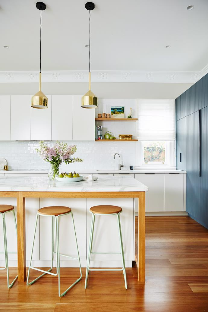 You CAN have a kitchen that is as practical as it is inviting by simply providing a place for guest to perch around the action. Height and comfort are essential to finding the perfect stool for your kitchen. *Photo: John Paul Urizar / bauersyndication.com.au*