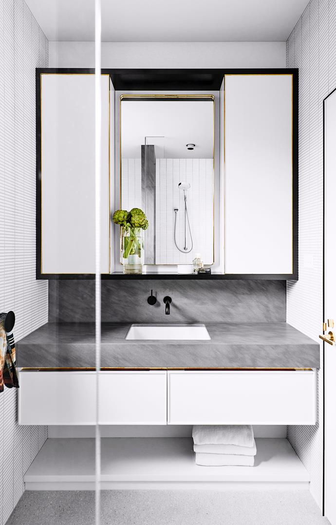 **Expand the vanity.** By stretching out the vanity to the full width of the bathroom, you give yourself more options for storage and shelving. You also make the bathroom more efficient so that multiple people can get ready at once. *Photo: Brook Holme / bauersyndication.com.au*