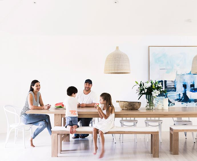 """Furnishing the house was simple – I have a very talented partner who makes beautiful hardwood furniture, so all our timber furniture, such as our dining table, coffee table, stools and beds all come from our business, [The Wood Room](http://thewoodroom.com.au/