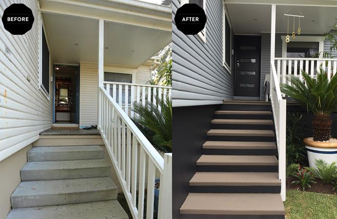 The once tired and weathered front porch and steps are now truly inviting.
