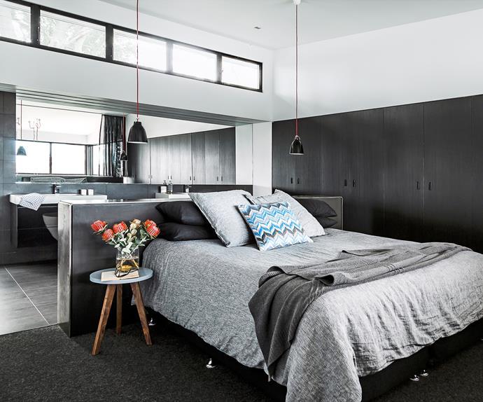 Open concept bedroom with ensuite bathroom