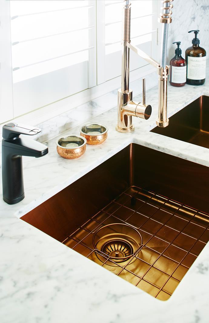 "Oliveri CS01CU, Spectra Copper double **sink**, $1177 and Astra Walker A6908V4CU **tap** in Copper, $1981, [Winning Appliances](http://www.winningappliances.com.au/|target=""_blank"")."