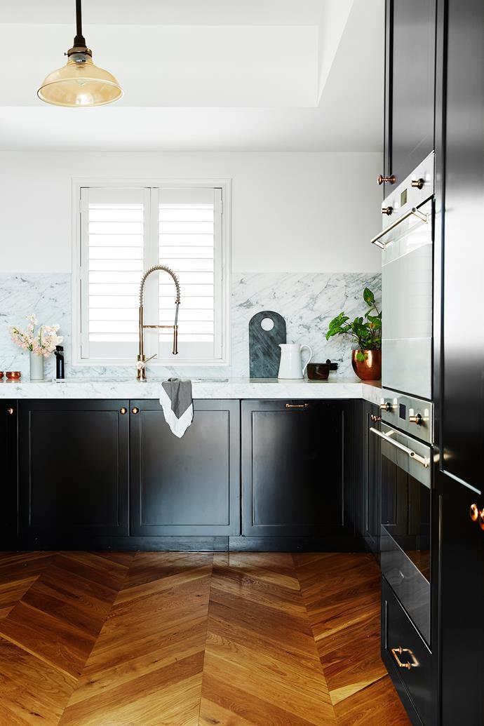 "Blackbutt timber *floorboards* with a matt finish, laid in a chevron pattern, POA (custom order), [Precision Flooring](http://www.precisionflooring.com.au/|target=""_blank"")"