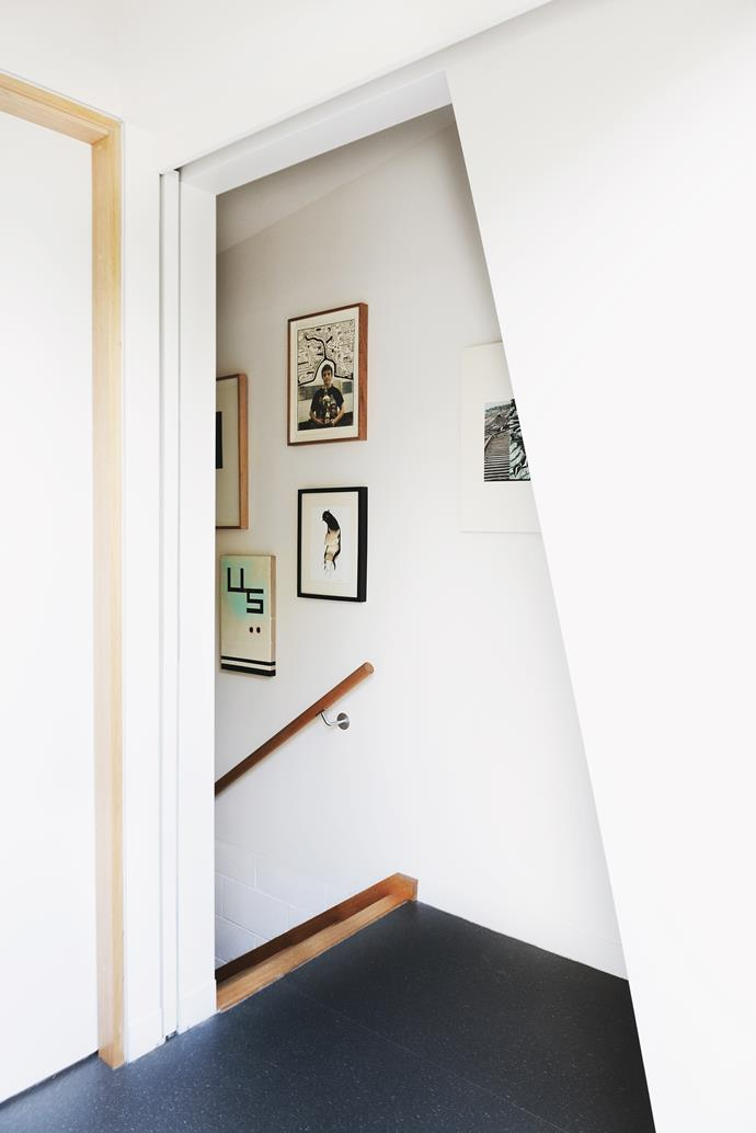 """Wall space was essential to the brief, especially with their growing collection and a number already in storage. """"We're addicted. When we take things out of storage it's like Christmas!"""" says Kate."""
