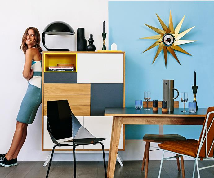 The gold sunburst clock says it all – this style is elegant, yet at the same time both fun and expressive. Colours are bold and in-your-face – use them in daring juxtapositions, or as solid blocks of brilliance against tamer neutrals. *Photo: Felix Forest / bauersyndication.com.au*