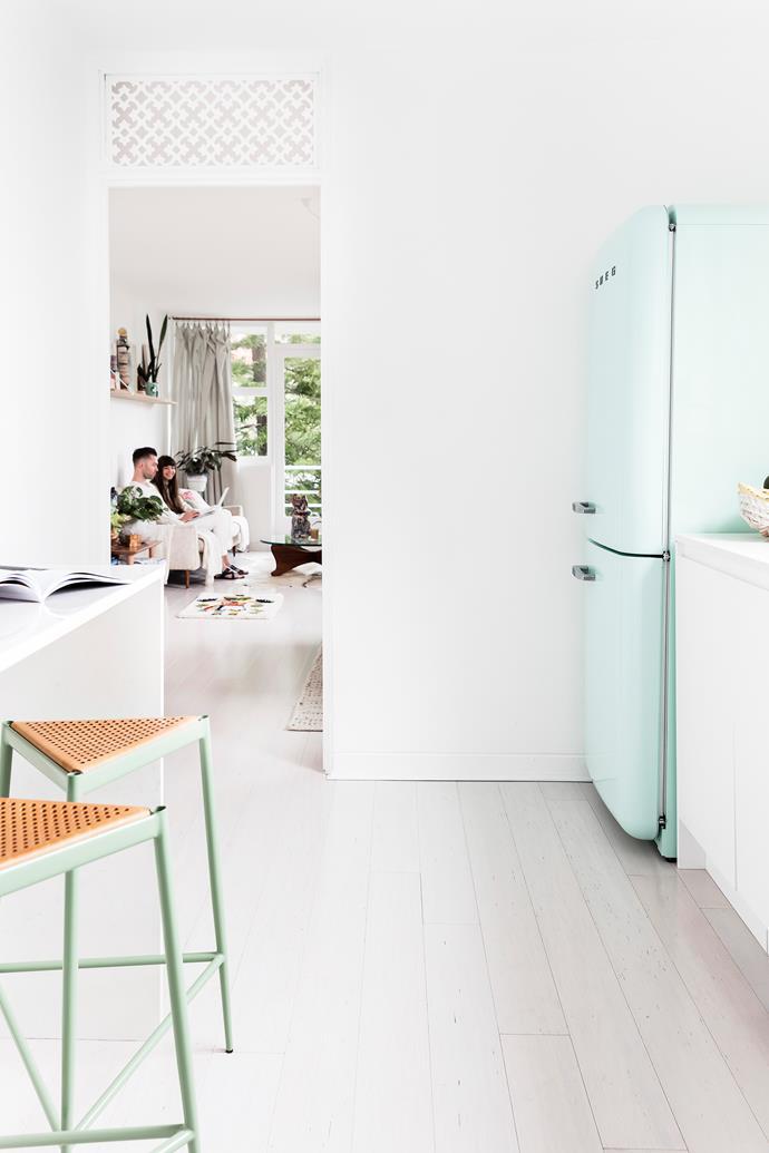 "Kitchen appliances are [Smeg](http://www.smeg.com.au/|target=""_blank""). Original '60s detailing, like lattice above doorways, was also a huge plus."