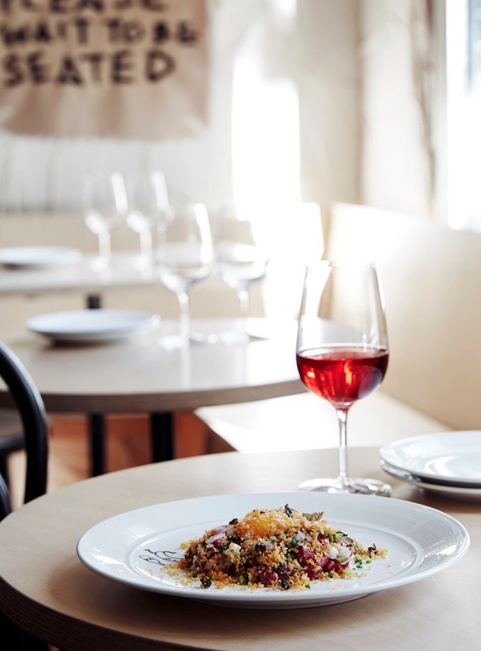 On the menu in the Wine Room – tartare beef, bagna cauda, pangrattato and yolk with 15 Spinifex Rosé Mataro blend from the Barossa Valley.