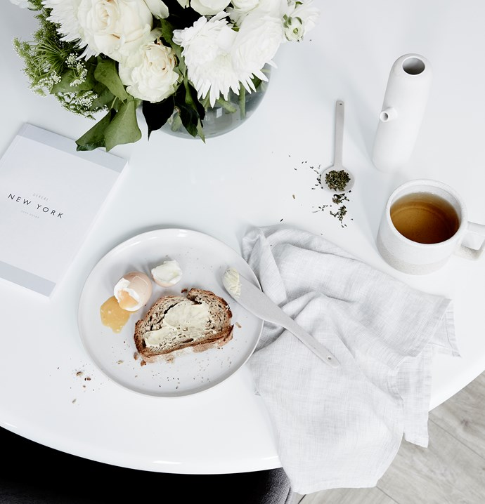 """**ON TABLE** Clovis glass **vase**, $59.90, Finch lunch **plate**, $24.90, and Dine linen **napkin** in Ecru, $12.90, [Citta Design](https://www.cittadesign.com/