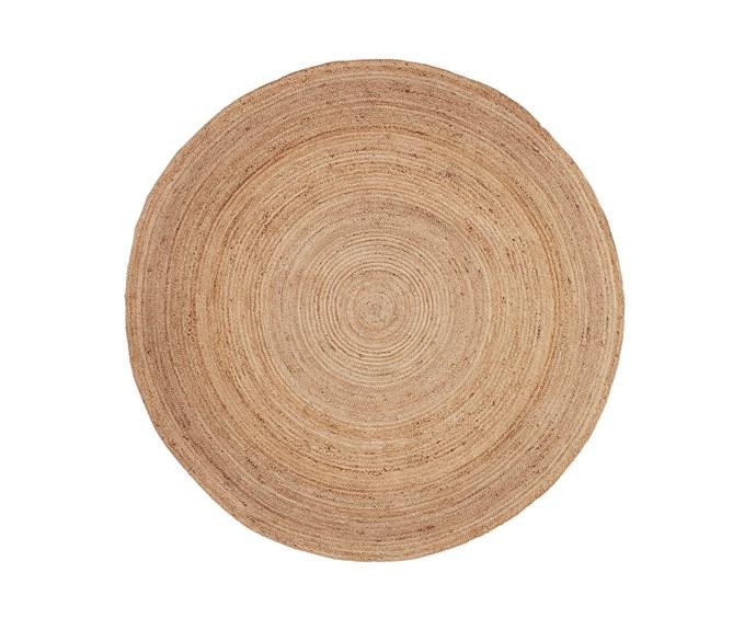 "Kimbra rug (1.8m) in Natural, $99, [Fantastic Furniture](https://www.fantasticfurniture.com.au/Categories/Home-Accessories/Rugs/Kimbra-Rug/p/KIMRUGRNDOOOJUTNAT|target=""_blank""|rel=""nofollow"")."