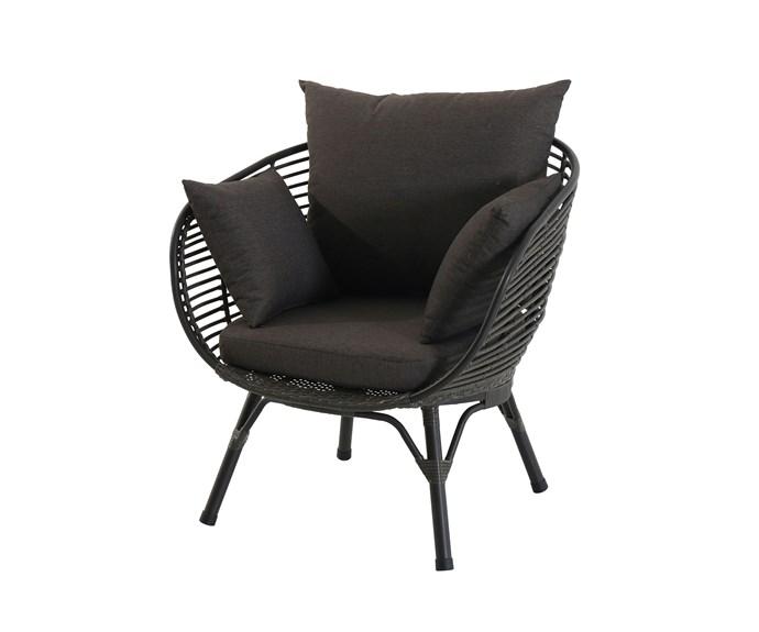 "Mimosa ""Waiheke Deluxe"" half egg *chair*, $269, [Bunnings](https://www.bunnings.com.au/mimosa-waiheke-deluxe-half-egg-chair_p3191961|target=""_blank""|rel=""nofollow"")."