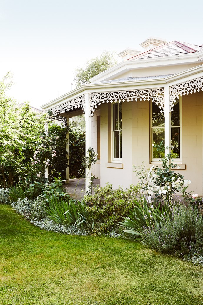 Roses, oakleaf hydrangea, irises, azaleas, and French lavender fill a bed that follows the curve of the wraparound verandah, ensuring scent and colour at every turn.