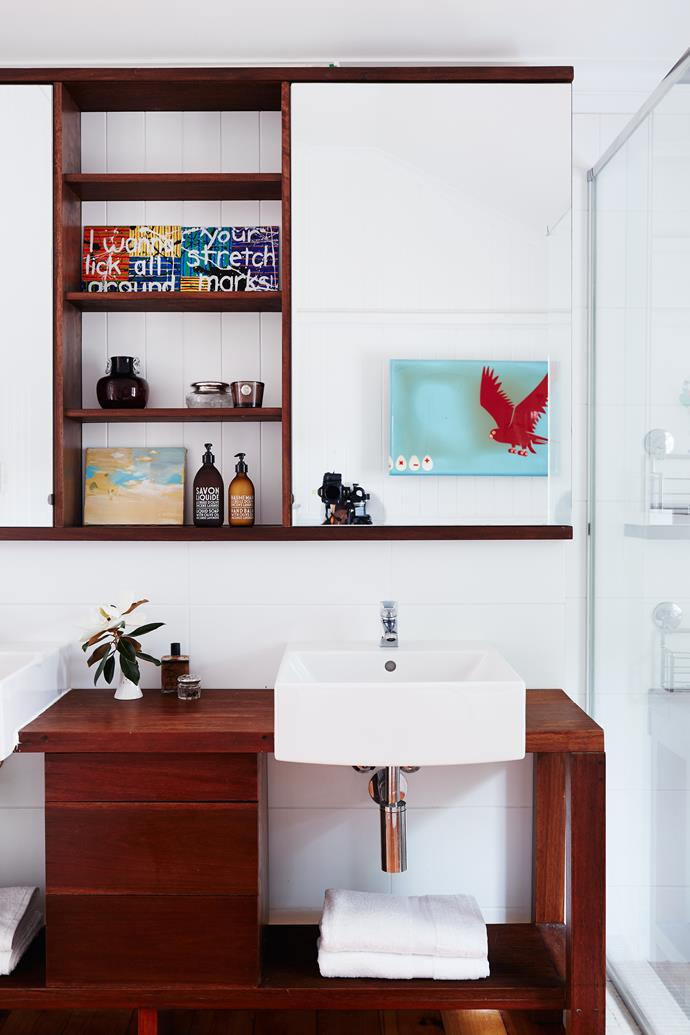 "A custom-made vanity and open shelves solved a space issue in the girls' bathroom. Basin, [Villeroy & Boch](http://www.villeroy-boch.com.au/|target=""_blank""