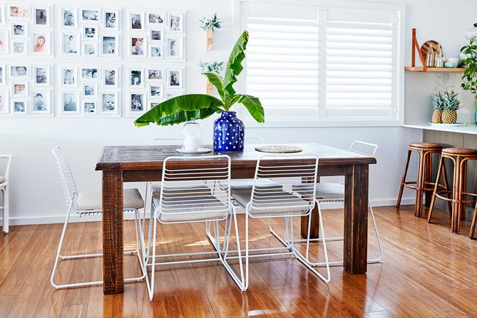 """""""White plantation shutters go with the coastal Hamptons look I wanted to create – and keep the summer sun out,"""" says Anna."""