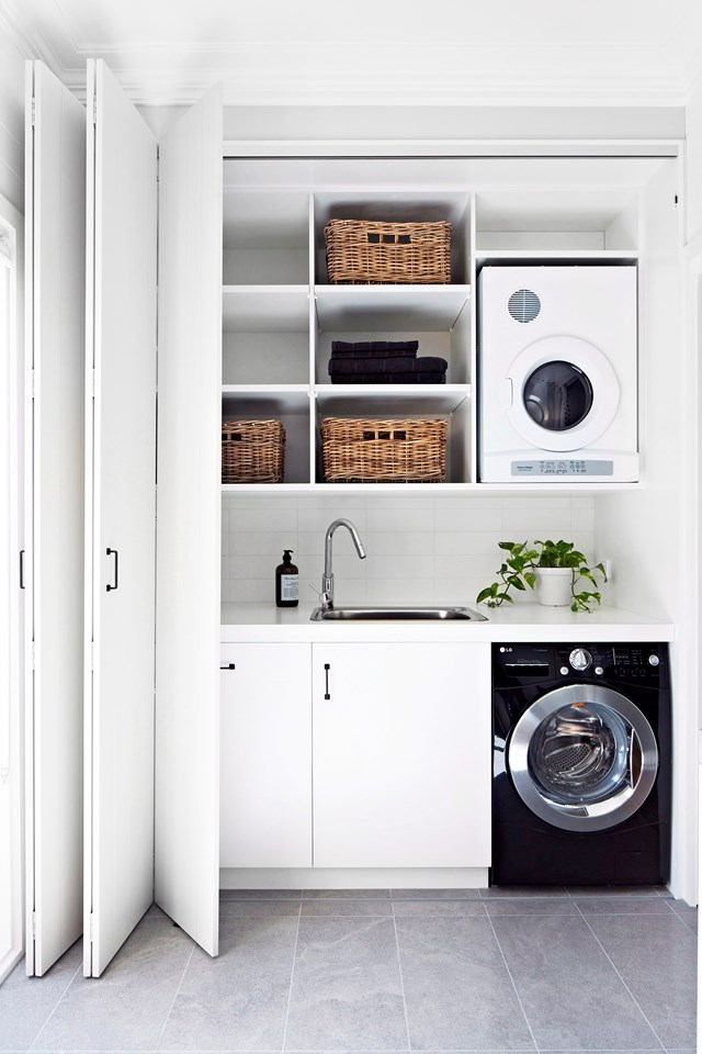 """The [perfect laundry design](http://www.homestolove.com.au/how-to-design-the-perfect-laundry-4236