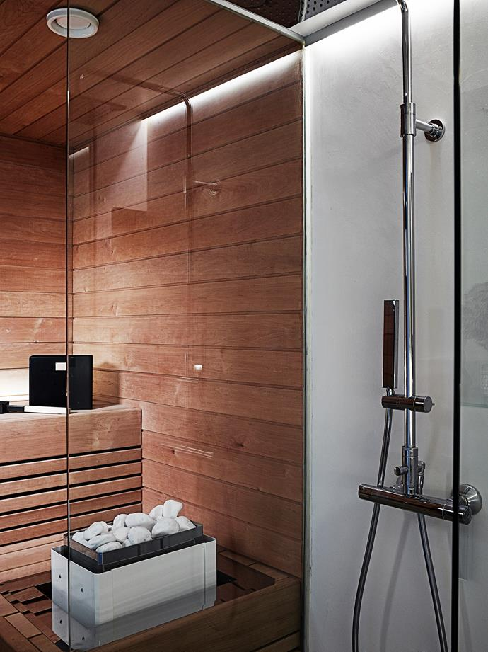The renovated sauna also contains an adjacent shower: a perfect combination.