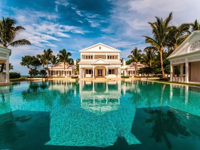 """Located on the waterfront of Jupiter Island in Florida, Celine Dion's custom built home and swimming pool looks more like a luxury resort than a family home. Image via [World of Architecture](http://www.worldofarchi.com//search/label/Celebrity%20Homes