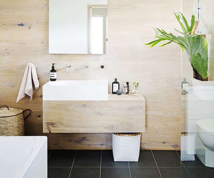 **Have long-term goals.** Commit to a complete 360-approach to going green by using sustainable materials wherever possible (a bamboo vanity is always a stylish option) and choosing good-quality products throughout. They'll stand the test of time ensuring you save time, money and resources in the long run. *Photography: James Henry / bauersyndication*