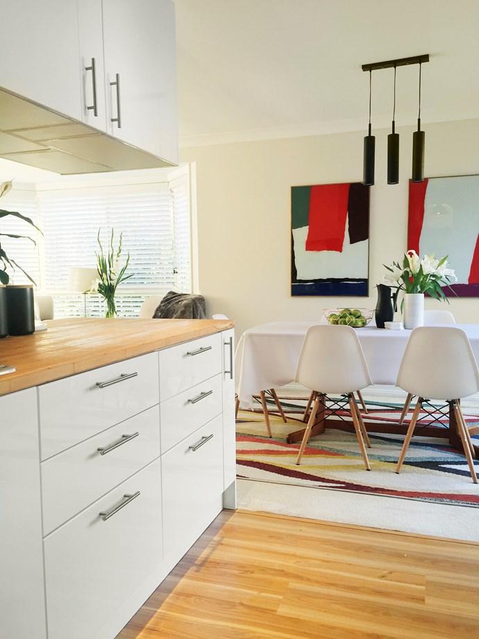 The bamboo benchtop and floating floor are a great combo.