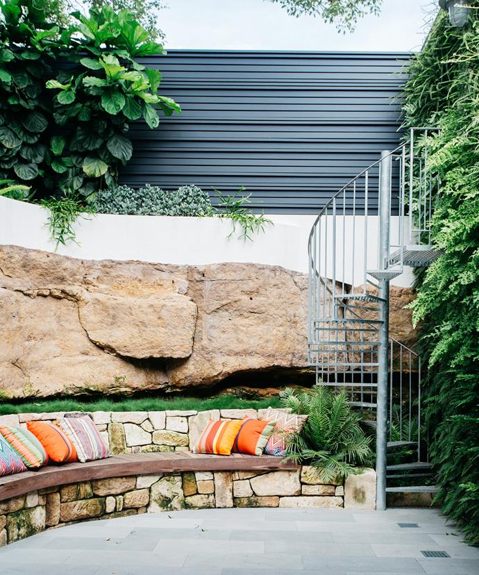 In the courtyard, Alastair built the dry stone wall himself, using stone left over from the former laundry. The wall of greenery covering the imposing garage/laundry wall was a passion of Alastair's, who sourced and planted all 750 plants, made up of nine varietals, himself.