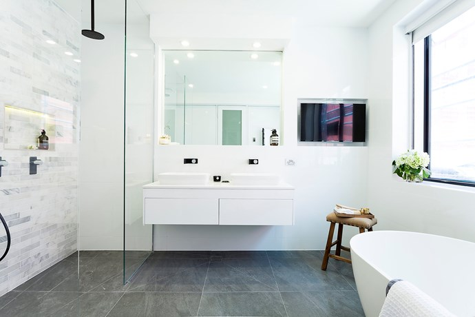 Double sinks are handy for busy mornings in the family bathroom.