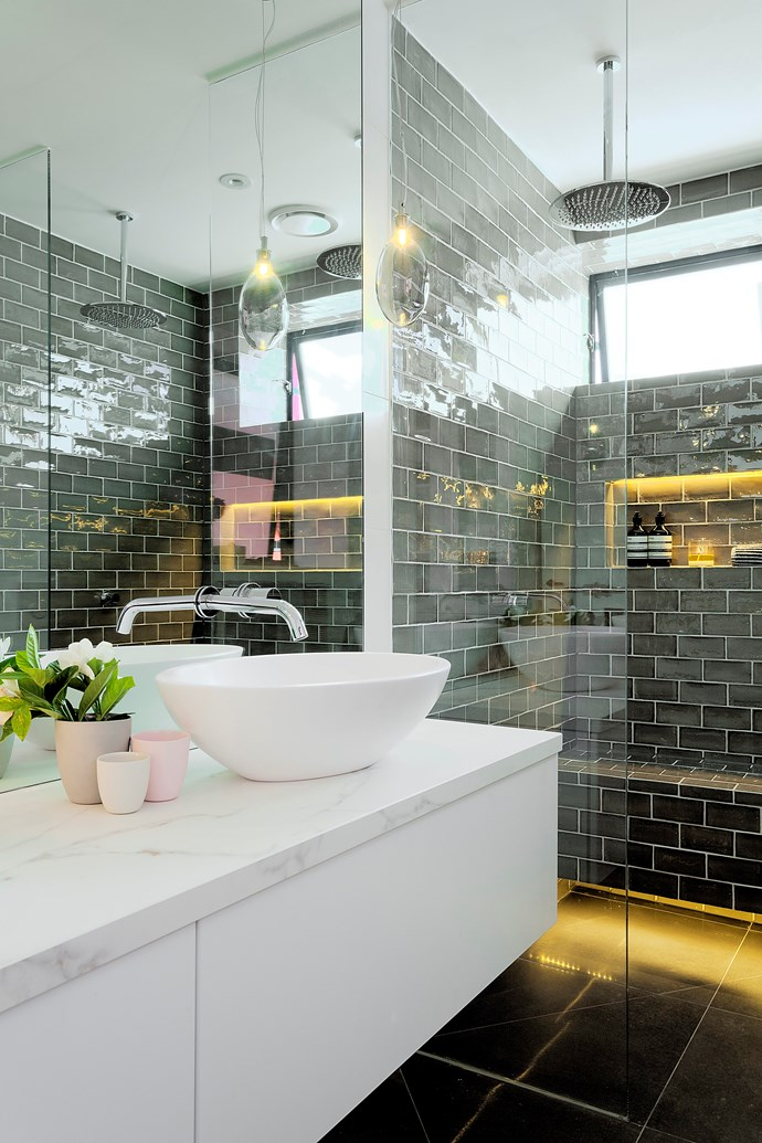 Wall-mounted taps allow for extra bench space in small bathrooms.
