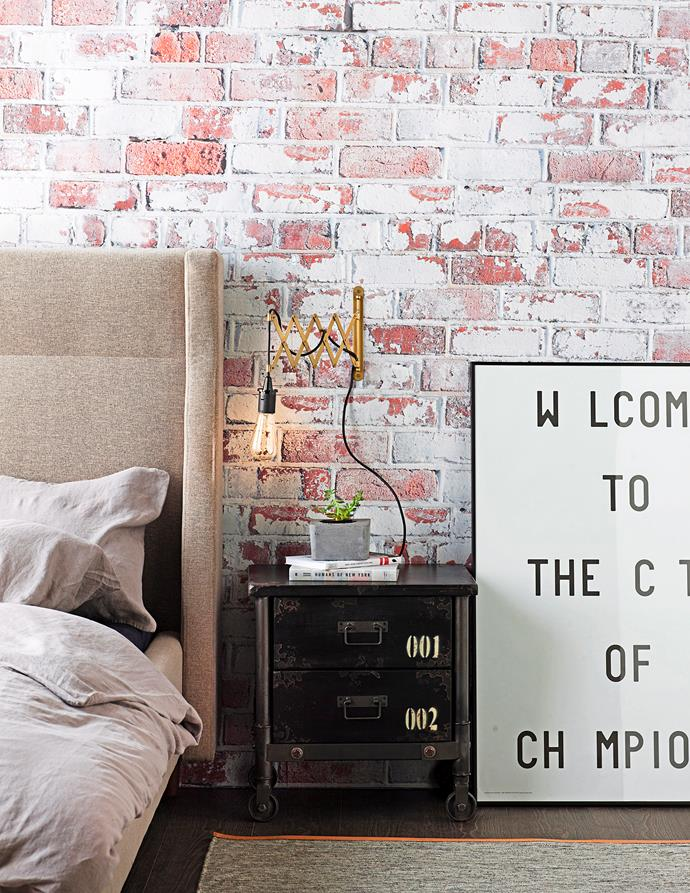 Get warehouse-style brickwork with cleverly printed wallpaper. Photo: bauersyndication.com.au