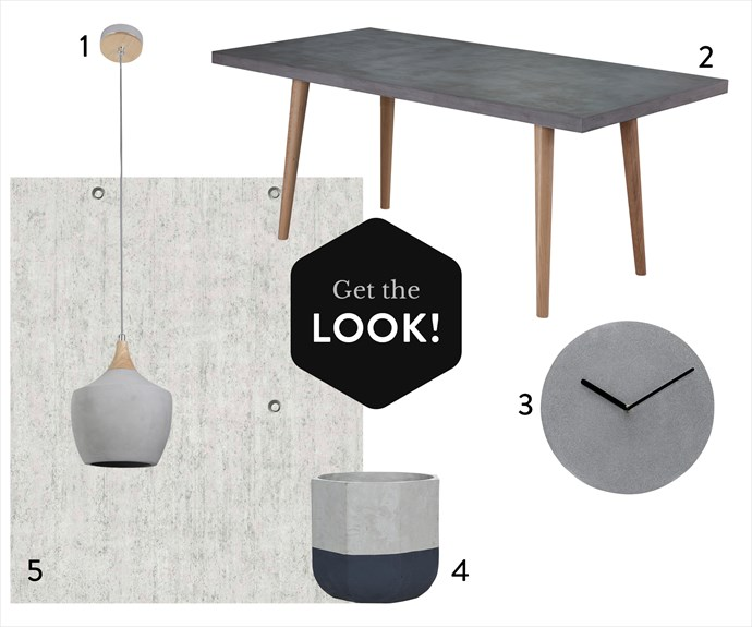 """**1.** Sculpt one-light drop pendant in Ash/Concrete, $169, from [Beacon Lighting](http://www.beaconlighting.com.au/