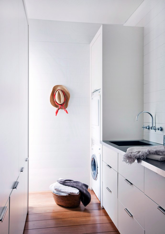 **Fashion-forward:** casually display one of your favourite items of clothing – such as a cute sunhat or silk scarf – to add a pop of personality to the space and remind yourself why it's worthwhile spending time in the laundry. *Photo: Jared Fowler / bauersydndication.com.au*