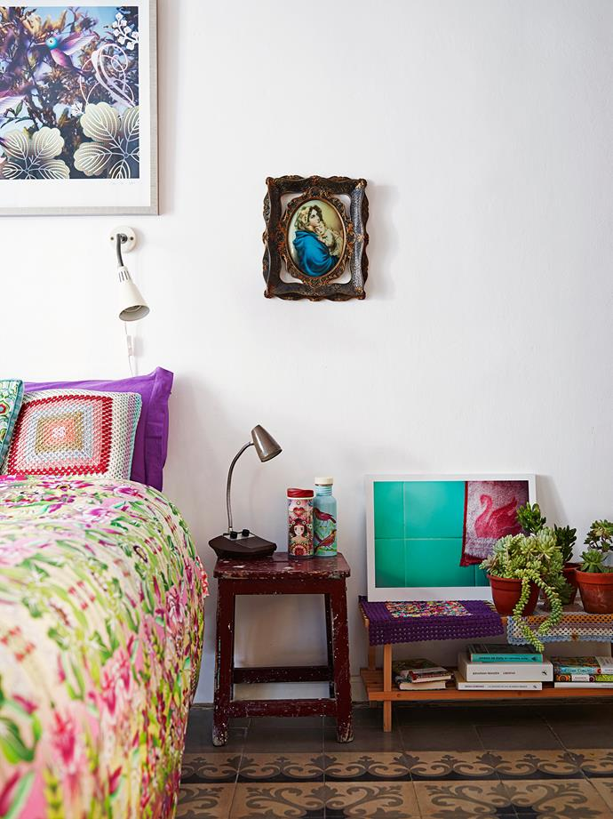Colour abounds in the three bedrooms, too, with many of the accessories designed by Catalina.